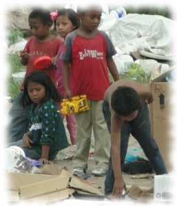 poor children on the dump in Honduras