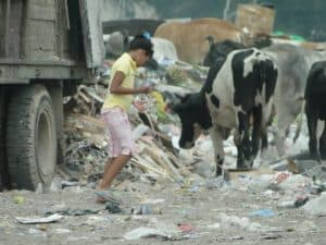 girl working in the dump