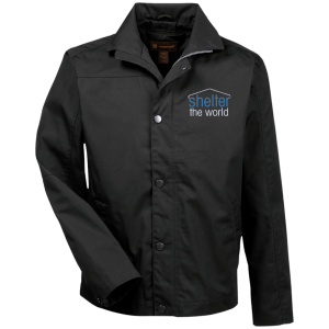 Canvas Work Jacket, polyester cotton coated canvas Lining: polyester, cotton jersey in front and back body, polyester taffeta sleeves with Double welt pen pocket on wearers left arm; Lower front welt pockets with hidden snap