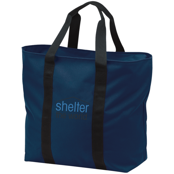 All Purpose Navy Tote Bag with embroidery logo polyester Zippered opening and front pocket; tote is embroidered above pocket