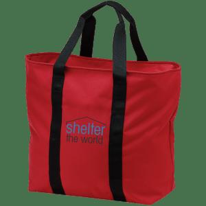 全能红色手提包刺绣标志涤纶拉链开前面的口袋里; 搬运箱上面口袋绣