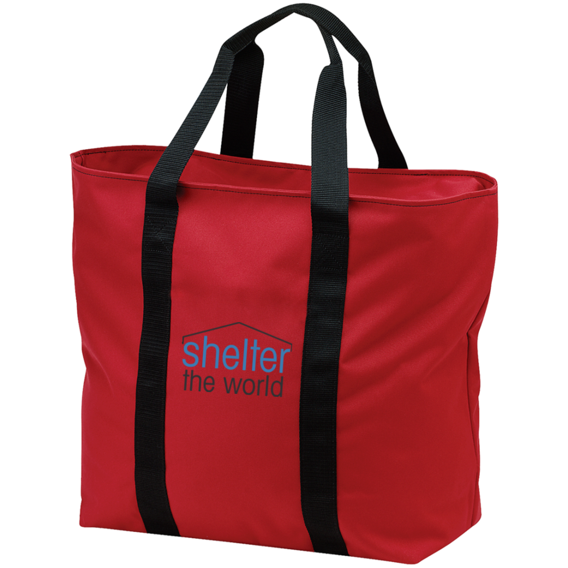 All Purpose Red Tote Bag with embroidery logo polyester Zippered opening and front pocket; tote is embroidered above pocket