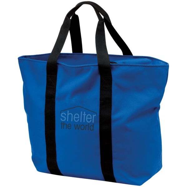All Purpose Blue Tote Bag with embroidery logo polyester Zippered opening and front pocket; tote is embroidered above pocket