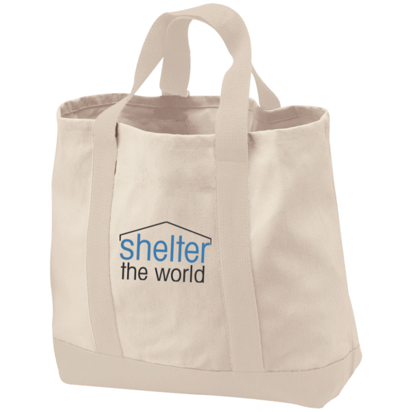 2-Tone Shopping Tote with embroidery logo and 100% cotton twill, natural contrast canvas bottom with Deep exterior pocket