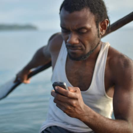 virtual volunteer man in boat helping by phone